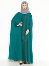 Sevdem Abiye Pelerinli Abiye Elbise - Yeşil - Sevdem Abiye