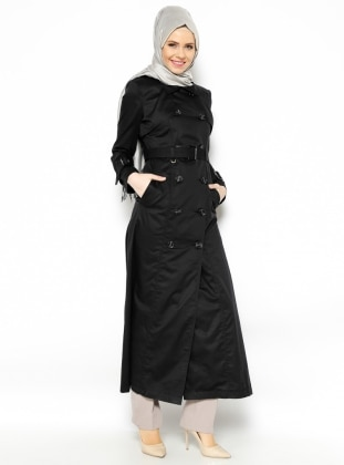 Buttoned Overcoat - Black - Vivezza