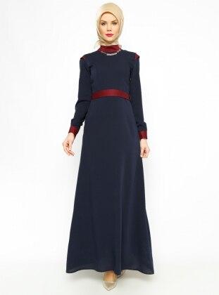 Kemerli Elbise - Lacivert - Vivezza