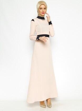 Kemerli Elbise - Pudra - Vivezza