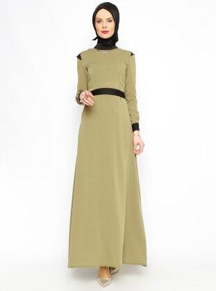 Kemerli Elbise - Yeşil - Vivezza