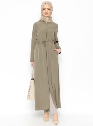 Fermuarlı Ferace - Haki Miss Cazibe