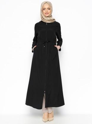 Zipper Detail Abaya - Black