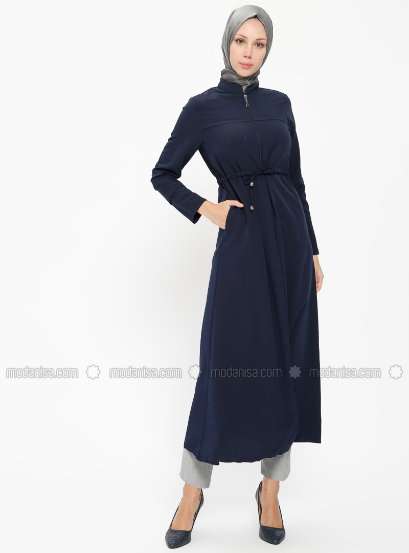 Zipper Detail Abaya - Navy Blue
