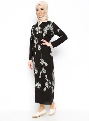 Printed Gauze Dress - Black - Cikrikci