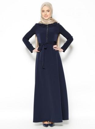 Brit Detaylı Elbise - Lacivert Mileny