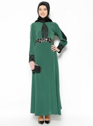 Dantel Detaylı Abiye Elbise - Yeşil