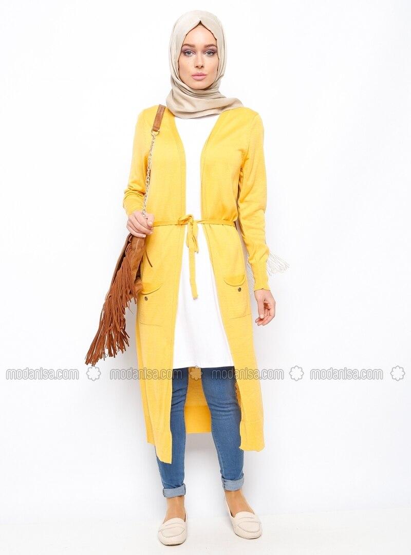 Long Cardigan - Mustard - Seyhan Fashion - Long Cardigan - Yellow - Cardigans - Modanisa