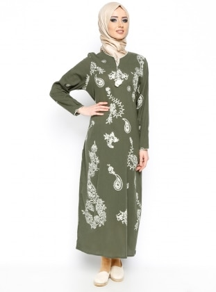 Printed Gauze Dress - Khaki - Cikrikci