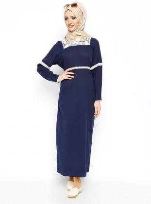 Şile Bezi Dantelli Elbise - Lacivert - Çkr Çıkrıkçı