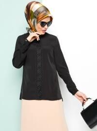 Güpür Detaylı Bluz - Siyah - Armine