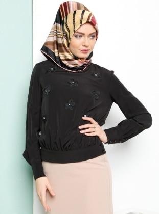Çiçekli Bluz - Siyah Armine