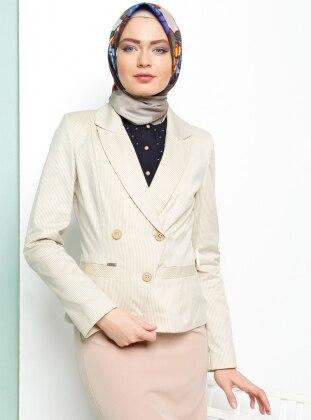 Çizgili Ceket - Bej