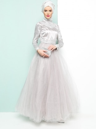 Armine Dantelli Abiye Elbise - Gümüş