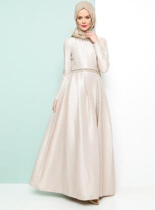 Armine Jakarlı Abiye Elbise - Pudra
