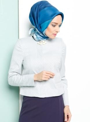 Jakarlı Ceket - Mavi Armine