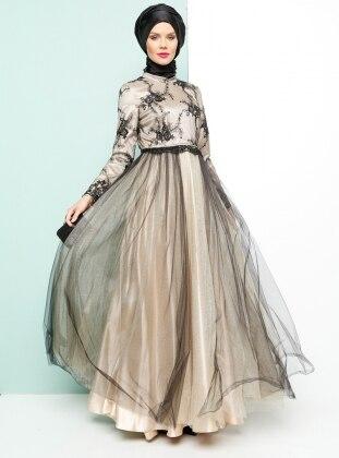 Taş Detaylı Abiye Elbise - Siyah