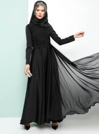 Armine Dantelli Abiye Elbise - Siyah - Armine