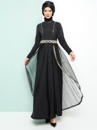 Armine Taşlı Abiye Elbise - Siyah - Armine