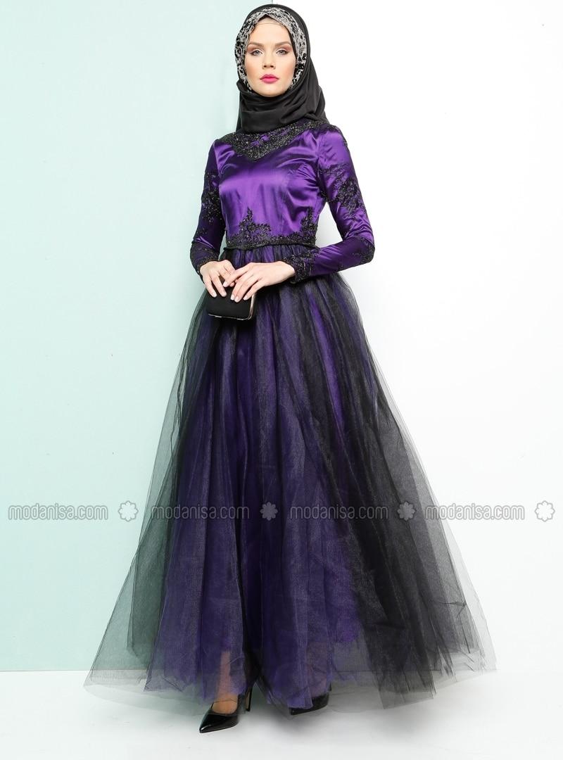Related pictures armine tak elbise tesett abiye modelleri - Dantelli Abiye Elbise Mor Armine