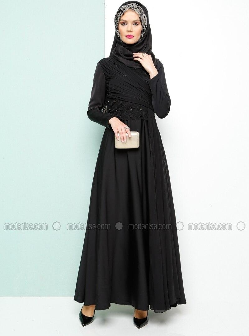 Lace Evening Dress - Black