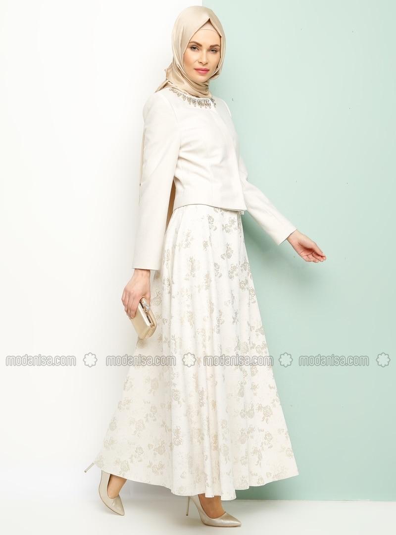 Related pictures armine tak elbise tesett abiye modelleri - Etek Ceket Kili Abiye Tak M Bej Armine