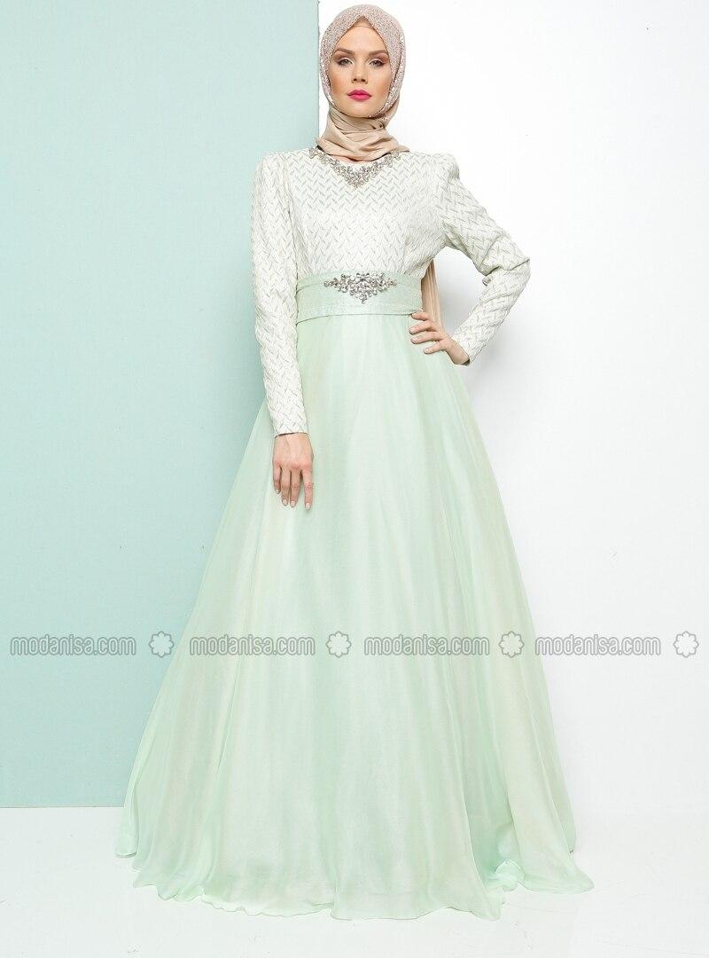 Related pictures armine tak elbise tesett abiye modelleri - Ta L Abiye Elbise Mint Armine