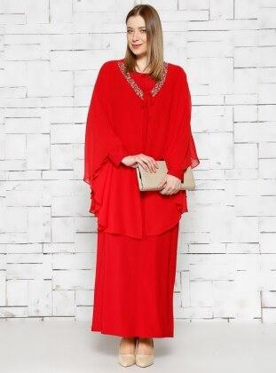 Pelerinli Abiye Elbise - Kırmızı - he&de