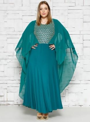 Pelerinli Abiye Elbise - Yeşil - he&de