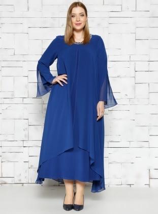 Taş İşlemeli Abiye Elbise - Saks - He&De