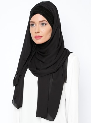 Three-Pleated Semi-Instant Shawl - Black
