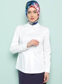 Sivri Yaka Bluz - Beyaz - Armine