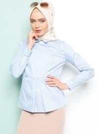 Sivri Yaka Bluz - Mavi - Armine