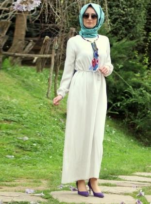 Waist Band Dress - Cream - Melek Aydin