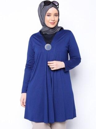 Tek Renk Hırka - Mavi Metex