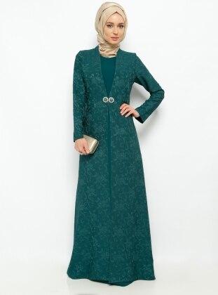 Jakarlı Abiye Elbise - Yeşil