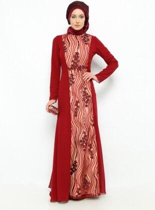 Payetli Abiye Elbise - Bordo