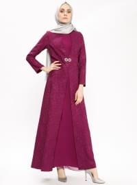Pink - Purple - Multi - Fully Lined - Crew neck - Muslim Evening Dress