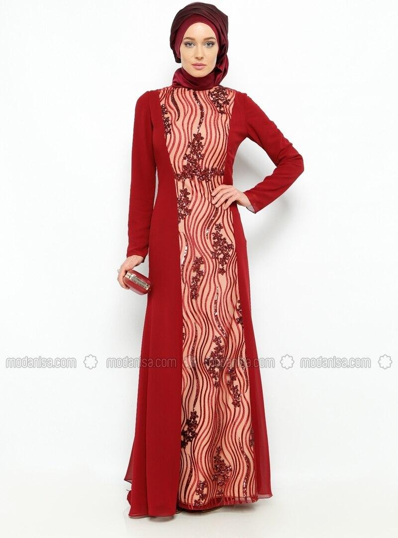 Sequined Evening Dress - Maroon