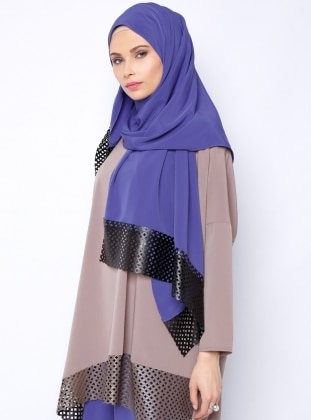 Leather Detailed Shawl - Indigo