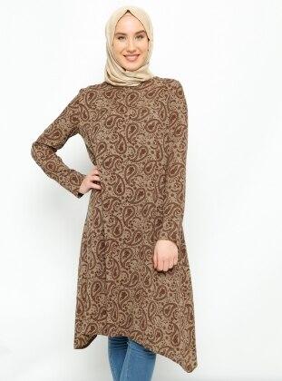 Şal Desenli Tunik - Kahverengi