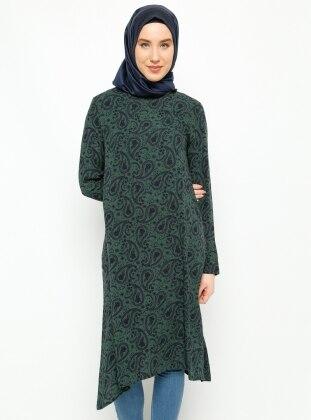 Şal Desenli Tunik - Yeşil