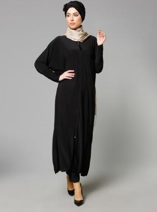 Bat Sleeve Abaya - Black - Modanisa