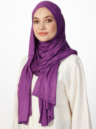 Jersey Combed Cotton Shawl - Purple