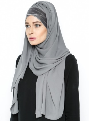 3 Pleat Detailed Triangle - Semi Instant Shawl - Gray