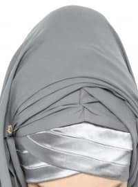 3 Pleat Detailed Triangle - Semi Instant Shawl - Gray