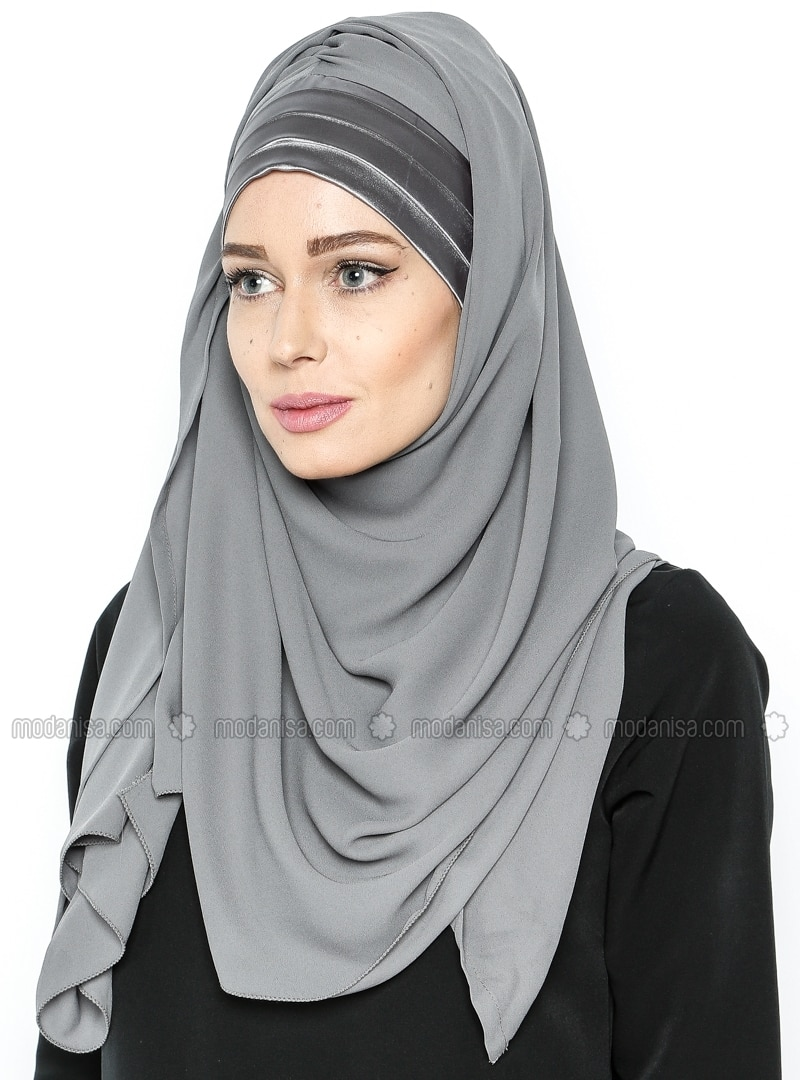 3 Pleat Detailed - Semi Instant Shawl - Gray