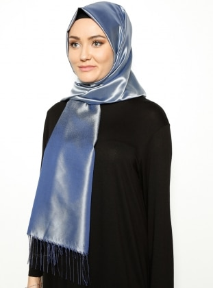 Blue - Plain - Fringe - Shawl