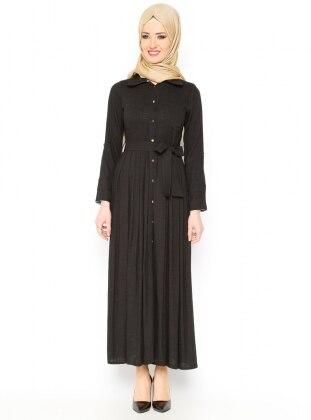 Düğmeli Elbise - Siyah