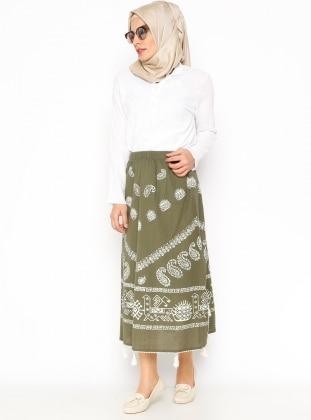 Embroidered Gauze Skirt - Khaki - Cikrikci